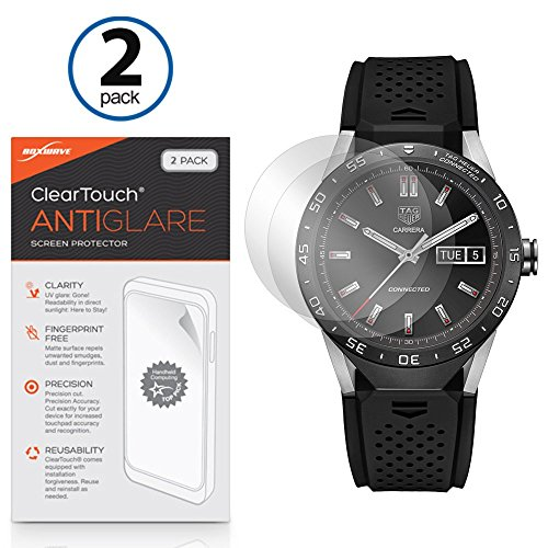 Tag Heuer Connected Screen Protector, BoxWave [ClearTouch Anti-Glare (2-Pack)] Anti-Fingerprint Matte Film Skin for Tag Heuer Connected