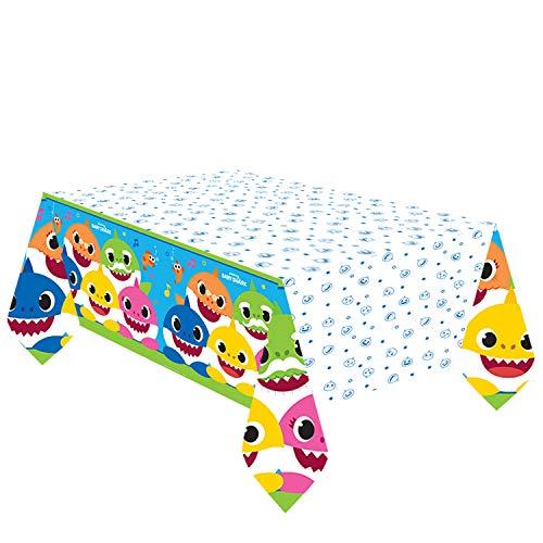 amscan 572527 Baby Shark - Mantel Rectangular de Papel, 1 Unidad