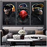 zxianc Print on Canvas Animal Picture Canvas Printed Painting Modern Funny Thinking Monkey Wall Art Poster for Living Room Home Decor 27.5'x47.2(70x120cm) x3 No Frame