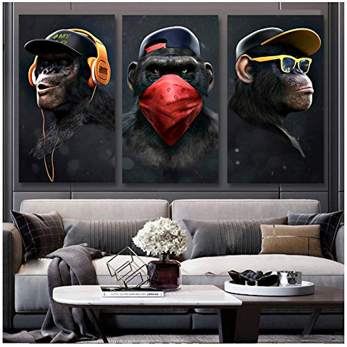 NIEMENGZHEN Impression sur Toile Animal Image Toile Imprimé Peinture Moderne Drôle Pensée Singe Mur Art Affiche pour Salon Décor À La Maison 23,6x43,3 (60x110cm) x3 sans Cadre