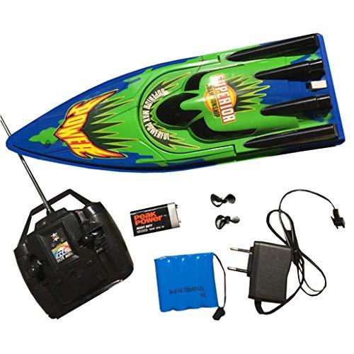WLKQ RC Boot, Ferngesteuertes Boot Schnellboot, Rennboot Modellboot Spielzeug für Kinder, inkl. Akku und Fernsteuerung, Weihnachts- und Geburtstagsgeschenke für Kinder,Grün