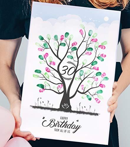 wedding-tree Fingerabdruck Bild Leinwand Baum Gästebuch Geschenk runder Geburtstag (30 x 45 cm, 30 Jahre)
