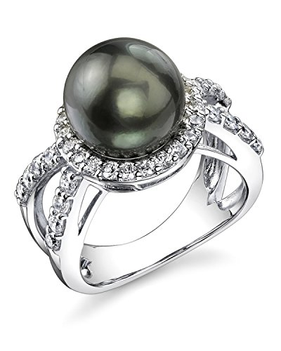 Black Tahitian Sea Cultured Pearl Leah Ring by The Pearl Source