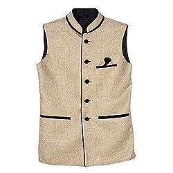 BIS Creations Mens Solid Golden Waistcoat