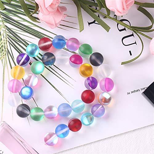 PrittUHU Redondo Matte Flash Glass Beads para joyería Haciendo la síntesis Glitter Moonstone Beads Colores (Color : Colorful, Item Diameter : 8mm X (46 48) pcs)