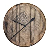 WhiskeyMade Authentic Reclaimed Bourbon Whiskey Barrel Head Clock - Comes Ready to Hang Beautiful Home Decoration - Made in The USA (Natural Oak)