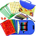 Stencil Drawing Kit for Kids w/Carry Case - 55 pcs. w/ 280 Stencil Shapes and Colored Pencils - Arts and Crafts for Home Travel - Fun Creative STEM Toy for Girls and Boys Ages 3 to Teen - Blue