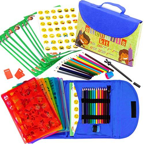 Art with smile Schablonen Zeichnungs-Set für Kinder großes 55-teiliges amüsantes Reisetätigkeits-Set, Organizer Koffer mit 280 Formen, Kunsthandwerk für Mädchen und Jungen