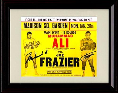 Framed Muhammad Ali vs Joe Frazier Autograph Replica Print 1 28 74 Super Fight 2 product image