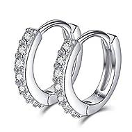 SELOVO 925 Sterling Silver 12mm Small Hinged Hoop Earrings Sleeper Cubic Zirconia