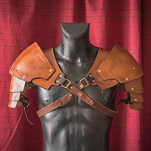 SKLLA Pauldrons Médiévaux Steampunk, Cuir Riveté Viking Warrior Gladiator Samurai Knight Battle Armor for Men Costume Party Props,Marron