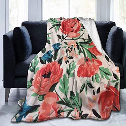 AEMAPE Manta de Lana Manta de Tiro con patrón de Rosa roja Manta cálida Manta Suave para sofá de Oficina en casa