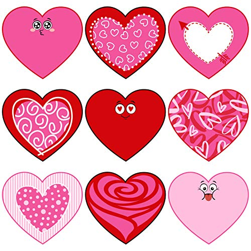 Whaline 45pcs Heart Cut-Outs Assorted Red Pink Heart Cut-Outs 6 Inch Large Valentine's Day Paper Cutouts for School Bulletin Board Classroom Wedding Anniversary Party Supplies, 9 Designs
