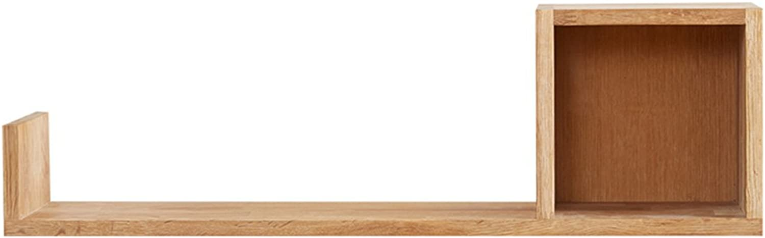 Modern Simplicity Oak CD Rack Solid Wood Shelves Wall Frame Wall-Mounted Shelves Style Optional (color   Right)