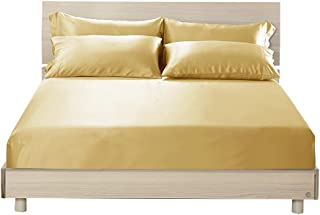 LilySilk 3 Piece Cal.King 100 Silk Fitted Sheets Set Gold, 2 Terse Pillowcases, 16 Deep Pockets, Luxury Soft Premium 19 Momme Mulberry Silk