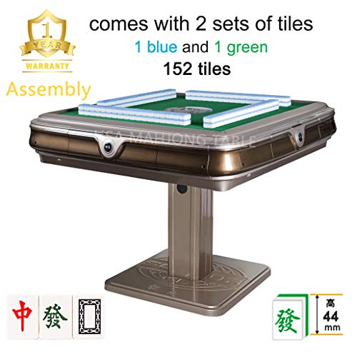 144Tiles 44mm Assembled 已安装 SOLOR松乐 Unfolding Automatic Mahjong Table 中国超大手感牌 Chinese Style, Comes 2 Sets of X-Large Magnetic Tiles Without Number (Blue & Green) & One Year Warranty