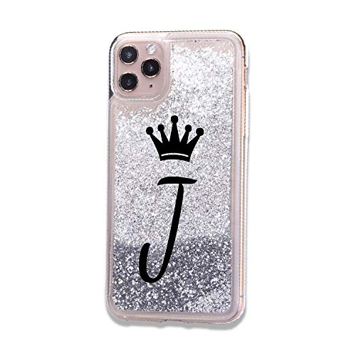 iPhone 11 Initials A to Z Alphabet Letter J Crown Queen Case Sparkle Bling Glitter Shining Liquid Quicksand Cover Women Girls Soft TPU Silicone Phone Bumper Skin (Silver) (iPhone 11, J)