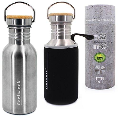 freiwerk Botella retro de acero inoxidable con tapa de bambú y funda de neopreno para llevar botella de deporte