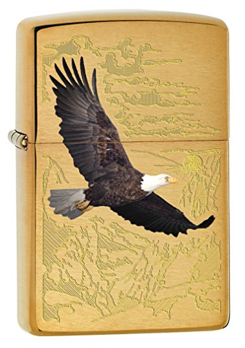 Zippo Lighter: Bald Eagle with Engraved Background - Brushed Brass 79470
