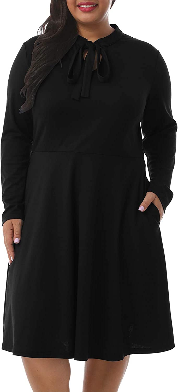 Nemidor Women's Bow Tie Vintage Plus Size Midi Dress Long Sleeve Swing Party Dress with Pockets NEM227