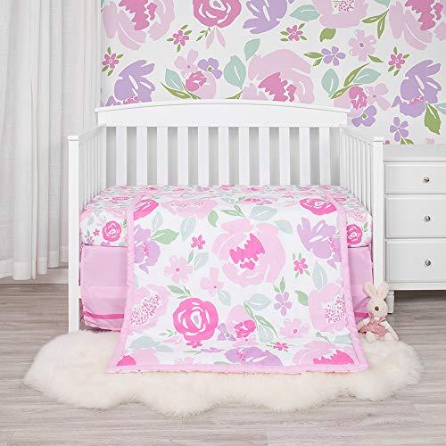 Kiddos 3-Piece Baby Crib Bedding Set | Luxury Microfiber (Pink Floral)