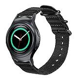 Fintie Correa Compatible con Samsung Gear S2 (SM-R720 / SM-R730) - Pulsera de Repuesto de Nylon Tejida Suave de Primera Calidad Banda Deportiva Ajustable con Hebilla de Metal, Negro