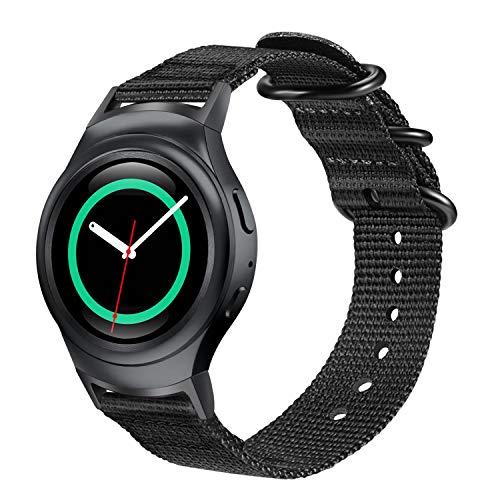 FINTIE Correa Compatible con Samsung Gear S2 (SM-R720/SM-R730) - Pulsera de Repuesto de Nylon Tejida Suave de Primera Calidad Banda Deportiva Ajustable con Hebilla de Metal, Negro