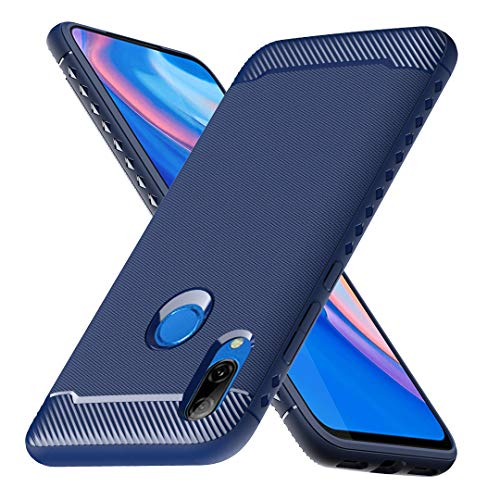 Cubierta con bisagras para Huawei P Smart Z / Huawei Y9 Prime 2019, funda protectora a prueba de golpes flexible Funda de fibra a prueba de choques para Huawei P Cubierta inteligente Z / Huawei Y9 Prime 2019 (Azul