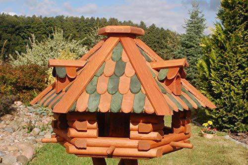 Deko-Shop-Hannusch Futterhaus/Vogelhaus mit Holzschindeln und Gauben Verschiedene Dachfarben und Solarbeleuchtung wählbar, V13, Farbe:V13 braun-grün mit Solar