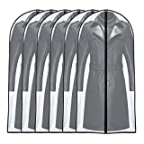 UOUEHRA Moth Proof Garment Bag 24'' x 55 '' (Set of 6) Transparent Lightweight Breathable Dust Covers with Study Full Zipper for Long Dress Clothes Storage [Upgraded Version]
