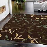 Ottomanson Contemporary Leaves Design Modern Area Rug, 5'0' W x 6'6' L, Choclate