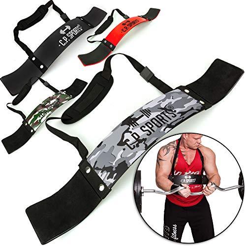 C.P. Sports Arm Blaster Bizeps Isolator für Bodybuilding, Kraftsport & Gewichtheben - Bizepstrainer, Trizeps Bomber (Camo-Grün)