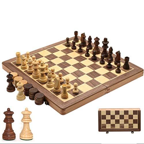LYLY Juego de ajedrez internacional de madera 2 en 1 – 2 reinas extra hechas a mano de ajedrez y damas de viaje portátiles con almacenamiento (tamaño 38 cm)