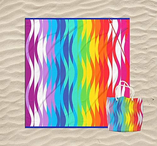 KN Toalla Playa Gigante para Mujer en Diseño de Impresos con Regalo de Una Bolsa Ideal para la Piscina o la Playa Colorido y Original 180 x 180cm (01)