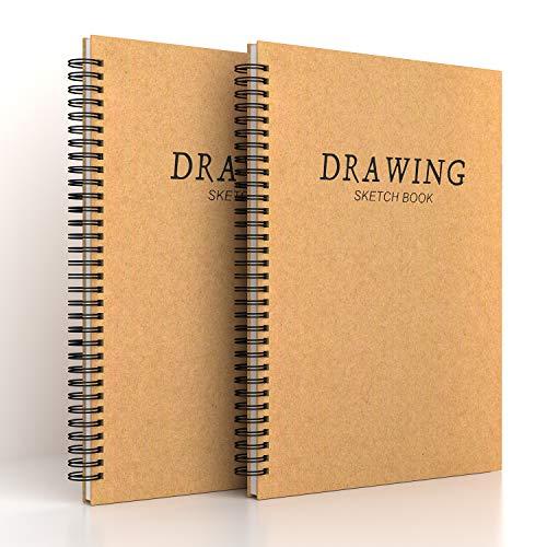 2-pack A4 skissblock spiralbunden skissdyna, vit ritning konstnär papper 160 gsm patronpapper - ritplattor 60 sidor/30 ark