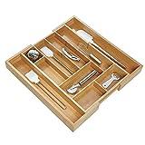 iDesign Formbu allungabile, Grande Vassoio portaposate in bambù, Organizer cassetto per P...