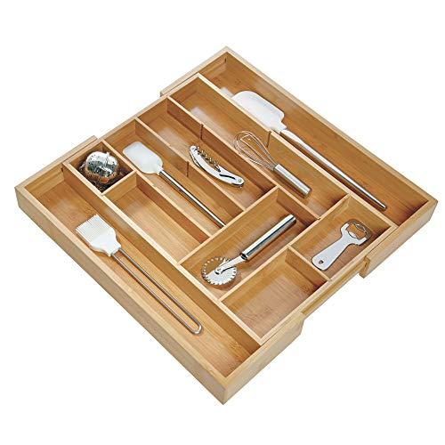 iDesign ausziehbarer Besteckkasten für die Schublade, großer Schubladeneinsatz aus Bambus, Besteckeinsatz für Silberbesteck und Kochutensilien, beige
