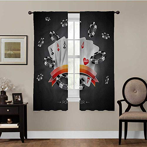 Blackout Window Curtain Panels Poker Tournament, Spread of Chips Triple Weave Energy Saving Curtain Best Home Decoration, Set of 2 Panels (31.5 x 63 Inch)