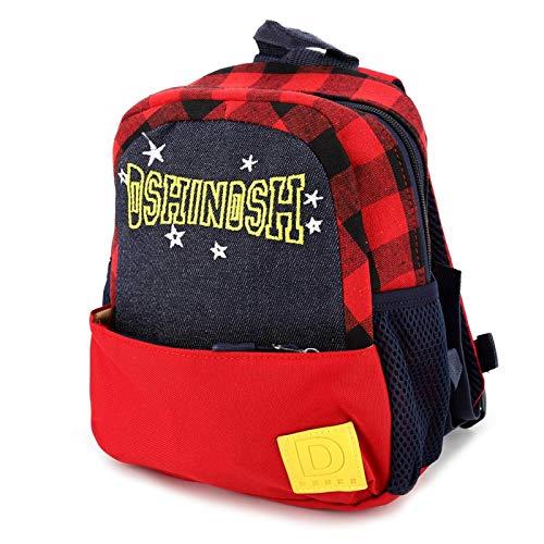 Mochila bordada con letras a la moda, mochila escolar para niños al aire libre, cremallera duradera para niños, para unisex, para dejar los juguetes(red)