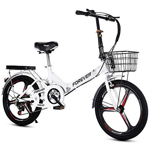 LHR Klapprad, 16-zoll-20-zoll-mini-fahrrad Mit Variabler Geschwindigkeit, Kleines Rad, Integrierter Reifen, Geeignet Für Erwachsene Schüler, Jugendliche,1 White,20inch