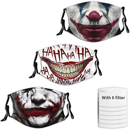 Joker 3 Packs Men's Halloween Mask, Adjustable and Reusable, Horror...