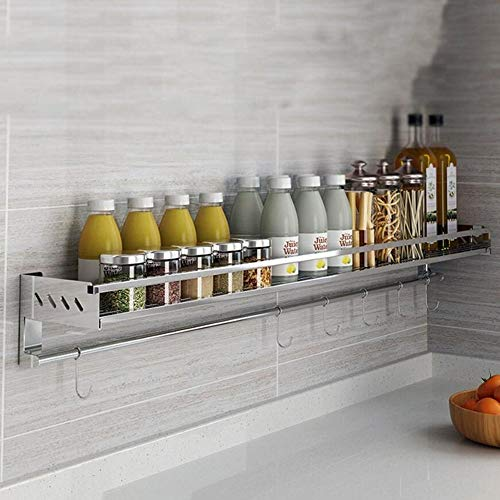 Küchenregal Wand-Gewürzregal aus Edelstahl 304 Home Multifunktions-Platzhalter Sparen Sie Platz und Laden Sie (Farbe : B, größe : 50cm)