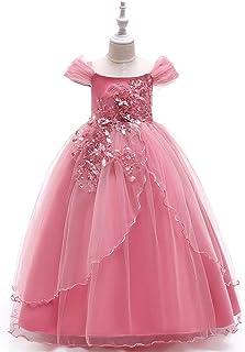 GFDGG 子供のロングスカートワンショルダーロングスカートフラワーガールの結婚式のバレエスカートの主宰ピアノ衣装 (色 : ピンク, サイズ : 110cm)