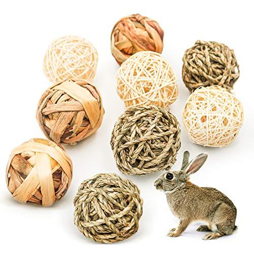 9 Stück Kaubälle, Kleintiere Kauspielzeug, Grasspielzeug für Kaninchen Meerschweinchen Chinchilla Hasen, Natürliche Bälle Leckereien geflochten Strohhalm lustiges Spielzeug für Kleintiere