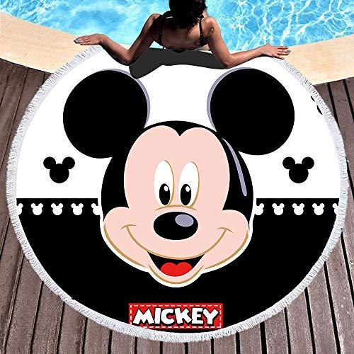 NOBRAND Toalla De Playa Redonda Toalla De Baño Mickey Mouse Tela De Microfibra Tamaño 150Cm Color Negro