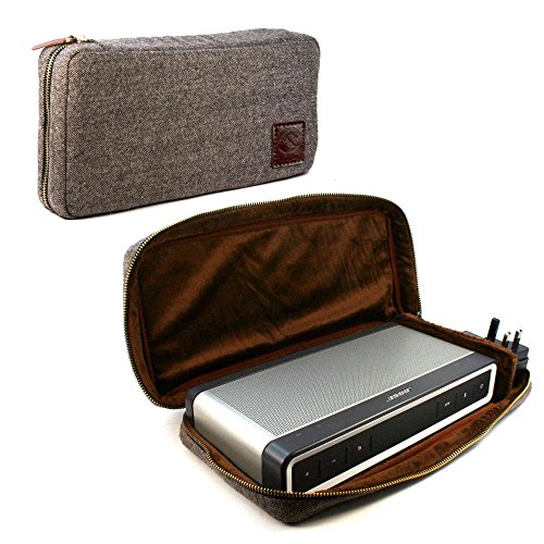 Tuff Luv Herringbone Tweed weicher Tasche Case Hülle für Bose Soundlink Bluetooth Speaker III 3 with NFC Tag - Braun