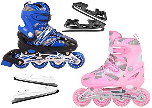 Nils Extreme inlineskates Kinder verstellbar Rollschuhe Schlittschuhe # 2in1 Inline Skates (Rosa, M(35-38))