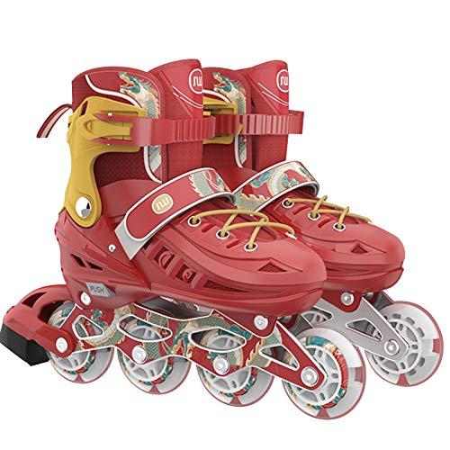 Patines en línea para hombre y mujer, patines de quad para adultos y niños, ruedas de 82 A, rodamientos ABEC-7 cromados, ajustables y transpirables, con ruedas de poliuretano, unisex