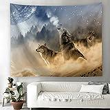 Wolf Mond Wald Wandteppich Fantasy Tier Landschaft Wandbehang Tapisserie Wandtuch Tischdecke Strandtuch 200x150cm