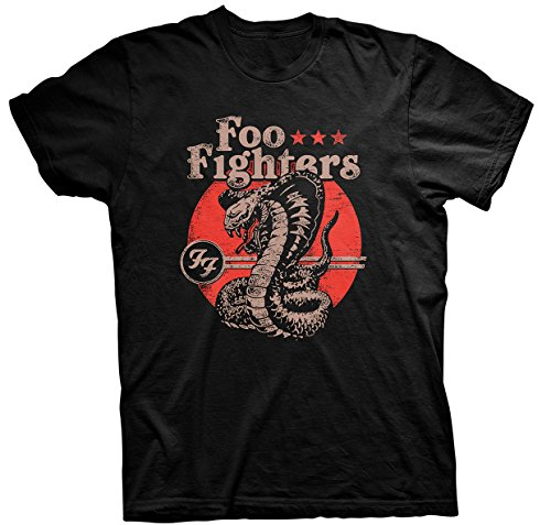Foo Fighters Snake Hombre Camiseta Negro XL, 100% algodón, Regular